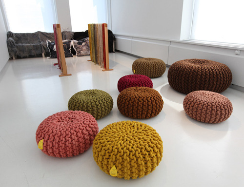 "The cutest beanbag-knit chairs I have ever seen. It seems that they're called ""Pouffes""."