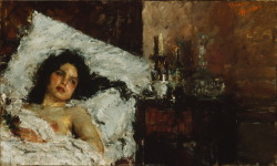 Antonio ManciniItalian, 1852–1930 Resting, c. 1887 Oil on canvas23 5/8 x 39 3/8 in. (60.9 x 100 cm) The Art Institute of Chicago
