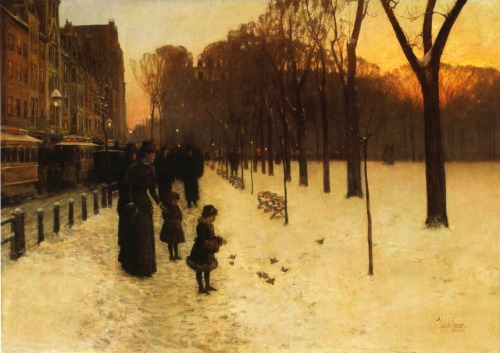 petitpoulailler:  welovepaintings: 1885 Frederike Childe Hassam (American 1859-1935) ~ Boston Common at Twilight
