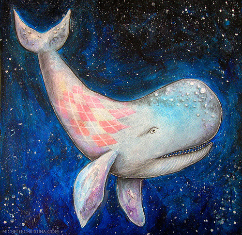 argyle space whale painting (by Michelle_Christina)
