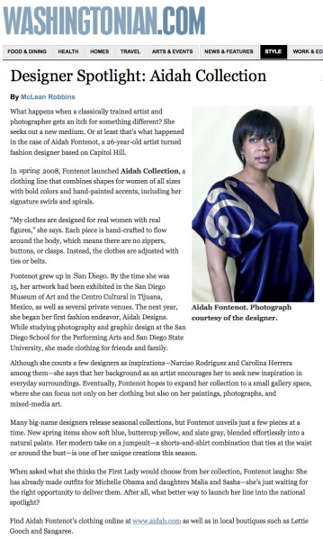 May 2009. Aidah Fontenot is the designer spotlight in Washingtonian Magazine.