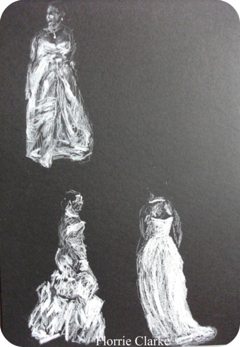 Queen Charlotte's Ball Debutantes in Conté Crayon. One in a series of seven. Florrie Clarke 2010. White Conté Crayon on black paper.