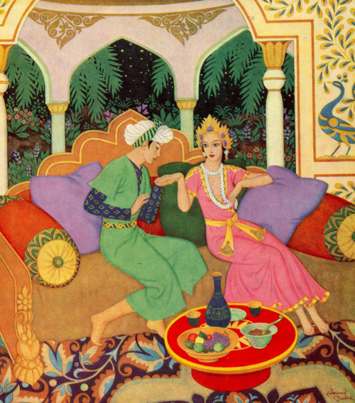 enchantingimagery:   Prince Ahmed and the Fairy Pari-Banou. An illustration by Edmund Dulac for the Arabian Nights Entertainments, c. 1930s. Scan by me from The Illustrated London News, Christmas 1954.