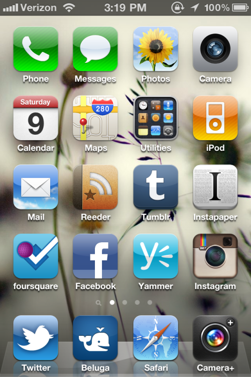 parislemon:  I've been asked a number of times to post my iPhone homescreen — Dan Frommer's post on his new site, SplatF reminded me — so here it is.