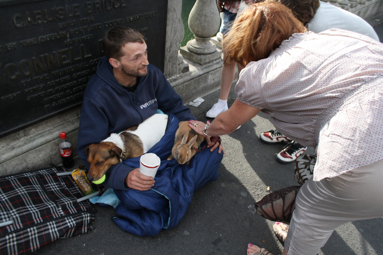"squipy:  This is a homeless guy who lives on a bridge in Dublin City. Last week his rabbit was grabbed from him and thrown into the river below.. the River Liffey. Which is one of the most horrible rivers in Ireland. The currents are really strong and it's filthy.. Anyway, as soon as the rabbit hit the water this guy was already hurdling off the bridge and towards the freezing river to save her. After hitting the water and successfully locating her, he proceeding to pump air back into her, making her regain consciousness and basically come back to life. I was talking to him today along with another woman and she asked ""Why in the name of God did you jump into the water? Did you not think about it?!"" and straight away he replied with ""No. I didn't stop to think. I just jumped. It was an instinct.. I needed to save her.""    i love this man. never was there such an act of compassion."