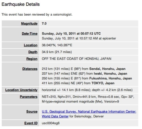 New earthquake in Japan: This one is a 7, which is strong but nowhere near as bad as the one that hit back in March. One thing to worry about: The tsunami alert area includes Fukushima.