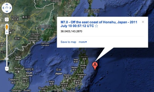 Japan quake on Google Maps: As you can see, it's off the coast of Sendai and Fukushima, much like the March 11th earthquake.
