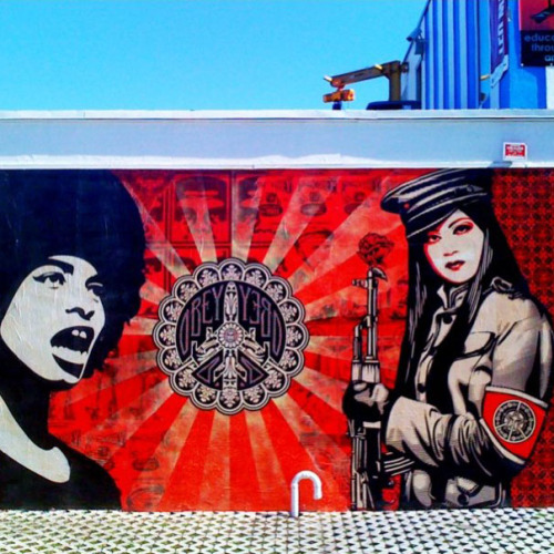 A mural by Shepard Fairy in Miami's Wynwood Art District. Unfortunately, this piece was recently defaced.