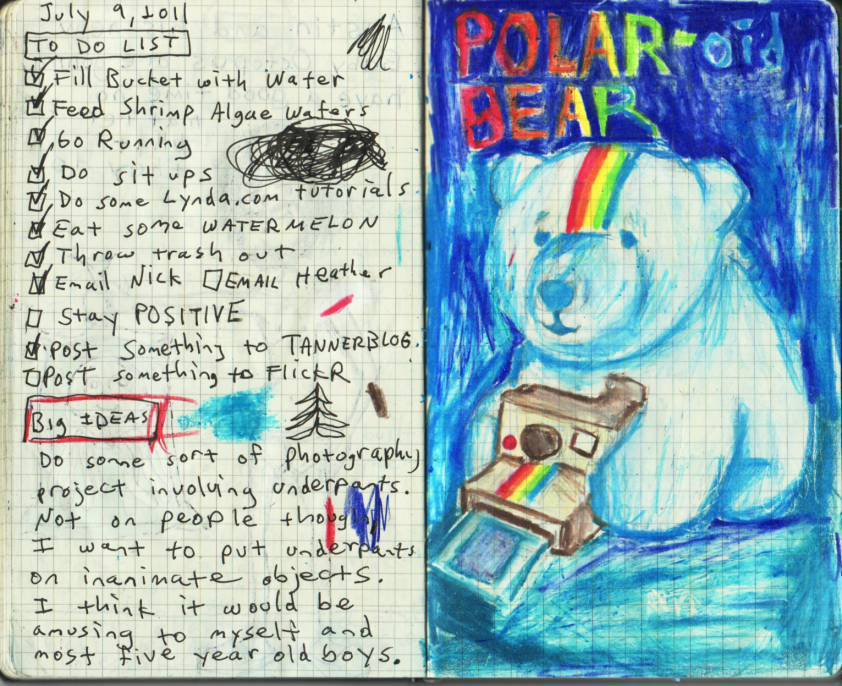 "MY JOURNAL ENTRY OF THE WEEK - POLAR-oid BEAR I liked this one best because… a. it has a baby polar bear and a rainbow!!! b. it has a baby polar bear and a rainbow!!! c. it has a baby polar bear and a rainbow!!! d. all of the above. Answer: ""D"" Behind-the-scenes: I couldn't find my pencil sharpener last night, so in order to complete this drawing I had to risk my life several times by using Vicki's biggest kitchen knife to sharpen my colored pencils. P.S. Please don't tell Vicki that I used her biggest kitchen knife, she'd KILL me, I'm DEAD serious. Vicki is very protective of two things in this world, one being her knives, the other being the stuffed baby penguin I got her for Christmas in 2005. P.S. #2 Don't tell Vicki this, but if winter rolls around and she tries to once again steal my cozy winter cap, I'm gonna murder that stuffed baby penguin with her biggest kitchen knife. To see more of my daily journal entries feel free to check out MY DAILY JOURNAL THING."