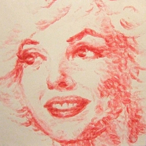 Natalie Irish Lipstick Painting, Marylin Monroe.