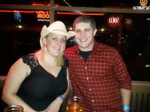 At Toby Keith's with my cowboy Paul :) Was a really fun night out because you get to drink beer out of mason jars and swing around and around on the dance floor pretending that you know what you're doing.