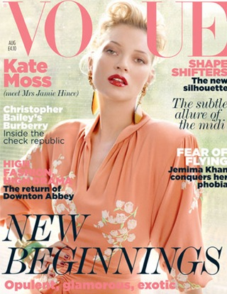 Kate Moss (or should I say, Mrs Hince) covers the August issue of Vogue UK