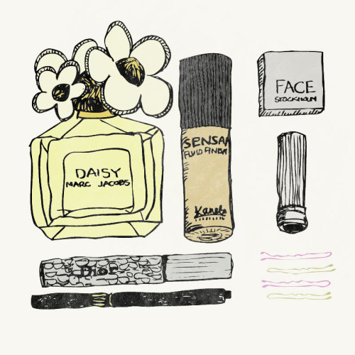 "Because I love Marc Jacobs Daisy thingsorganizedneatly:  SUBMISSION : An illustration that I made for a project me and my friends started to keep our creativity going during the summer months. One theme every week - this week was ""Collection"". (The collection is the content of my make up-bag) by Fanny Nordmark"