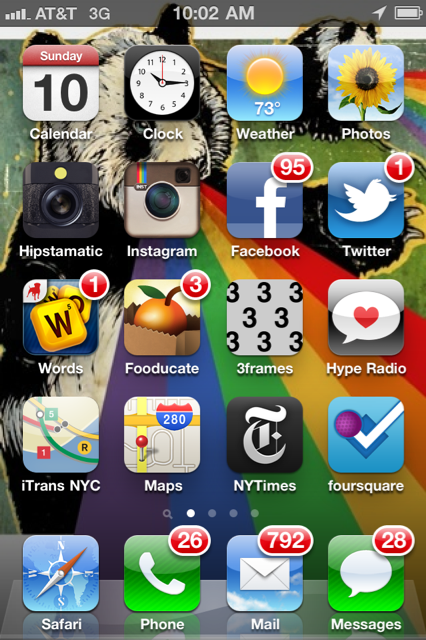 jennydeluxe:  My sister organized my iPhone this weekend. We spent a long time deciding what would go into different folders (news, social, sleep aids, betas, work) and what I should keep on the homescreen. Inspired by MG and Dan, I decided to post a snapshot of the final results.