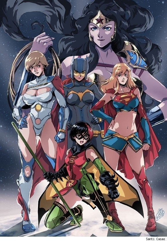 thatlame:  Anime DC Ladies by Santi Casas.
