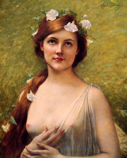Young Woman with Morning Glories in Her Hair, by Jules-Joseph Lefèbvre.
