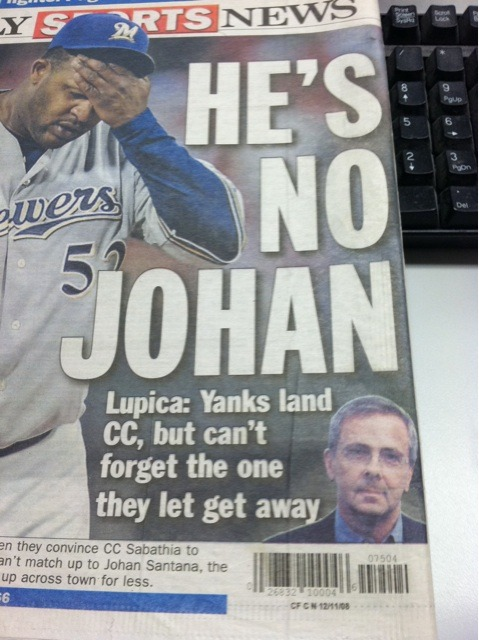 Oh, Lupica. (Blast from the past via @mikeaxisa)  C.C. Sabathia finishes the season's first half at 13-4, with a 2.72 ERA. In his last four starts, C.C. has allowed just one earned run in 31.2 innings.