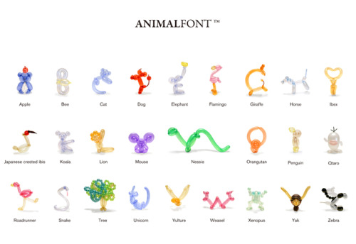 AnimalFont, balloon animal typography iPhone app by Takashi Kawada.