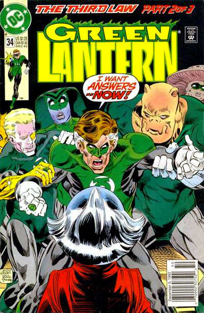 "Green Lantern v3 #34, ""The Third Law 2 of 3: Entropy,"" December 1992, written by Gerard Jones, penciled by M.D. Bright Green Lantern goes to Oa and demands answers from the Guardians about questions that heavily involve stuff that I have never heard of. Need a big ol' recap page. What the 27 year old thinks: I generally like the ""Star Wars"" method of immersive storytelling. But this? There's not a whole lot to grab onto. I still don't know what the big black orbs are, or what they do, or where they came from. I don't know who this Pie-Face guy is. This issue is in the thick of Corps mythology, with the big blue-headed dudes (who sometimes aren't dudes, and sometimes are tall dudes, and sometimes are just heads) and the ridiculous looking GL Corps members all showing up. But…who all these people are and how they relate to each other is lost on me. I thought the argument between GL and the Guardians (right? That's what they are? The blue dudes.) was well-written, but I had no idea what they were arguing about.  What the 8 year old thinks: Bored. Liked the cool art, but bored. Verdict: ""This is just like Murder, She Wrote! A snoozefest!"""