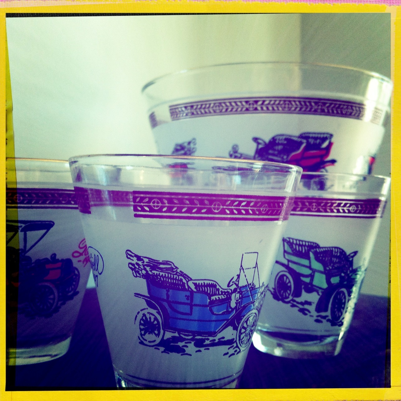 """Old Cars"" Shot Glasses & Ice Bucket Set of Five -$22.00  Via: feedingbirdsboutique"