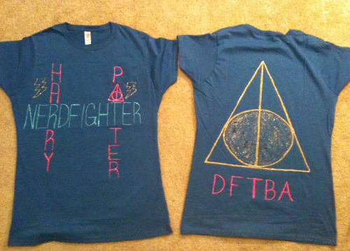 The shirts I made for my friend and I for Leaky! (Left: Front, Right: Back)  If you are at LeakyCon and you see someone wearing this shirt, COME SAY HI!