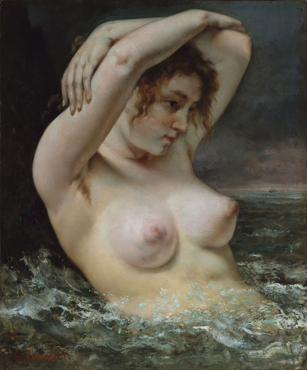 msbehavoyeur:  The Woman in the Waves (La Femme dans les vagues), oil on canvas panting  of 1868 by the French Realist painter Gustave Courbet (1819-1877), 65  cm x 54 cm, Metropolitan Museum of Art, New York City, United States. via