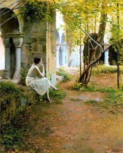 Ramon Casas i Carbó Figura i claustre   1923 Oil on canvas 75x92 cm