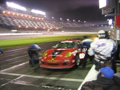 The late show. Early-morning action in the TRG pits at the 2008 Rolex 24 @ Daytona. A fantastic experience, even if my friend's car (Porsche #63, Ron Yarab) blew up before he got any seat time. Things could only get better, and they have. His team finished eighth in the GT class, 20th overall, at this year's race. Photo by R.
