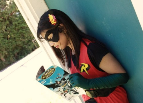Me, reading Batman Incorporated 7 on the side of the road XD. —J