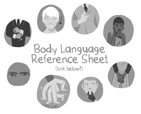goknights:  BODY LANGUAGE REFERENCE SHEET I've been reading up on body language and stuff trying to make my comics less stiff. I put my notes into reference sheet form so other people can use them. I actually took a while making this, so I hope you guys find it interesting! Also, this font didn't have apostrophes or quotes so a lot of things seem awkward!? Sorry about that. also I didnt know this before I made it but the book I was taking notes on is already online… d'oh