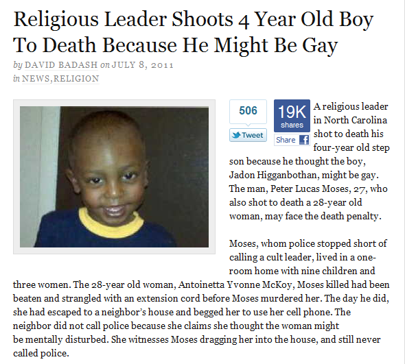 Religious Leader Shoots 4 Year Old Boy To Death Because He Might Be Gay