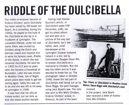 Just found out that our street name is derived from the famous yacht, Dulcibella, from literary history, circa 1903 'The Riddle of the Sands'—one of the first modern English thrillers. Boom.
