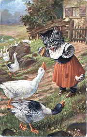 A Victorian cat is feeding bread to geese!