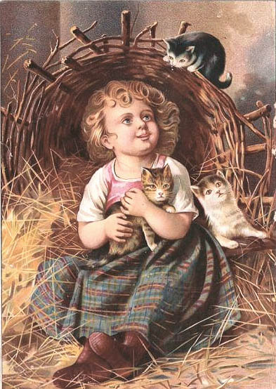 A Victorian girl surrounded by Victorian cats.