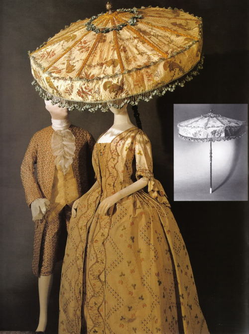 1760's/70's ensembles featuring a fabo umbrella From the Hysterical Costumer