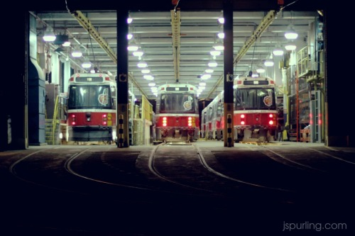 TTC Streetcar depot near Queen St East and Woodfield Road in Leslieville, Toronto.