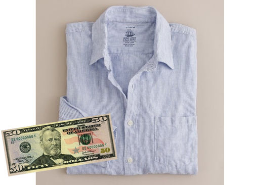 "putthison:  For $50, You Can Buy … This J Crew Irish linen shirt. Some people hate how linen holds wrinkles, but I personally love it. Linen has a life to it and looks best when its a bit crumpled - the texture gives the fabric a kind of ""lived in"" elegance. As long as your linen shirt fits well, these crumples will give you an insouciant look without making you look messy.  And J Crew's version fits fairly well. It's slimmer than most models out there, and comes in extra-small for overly skinny guys like me. The only quip I have is that all of J Crew's shirts have small collars. I prefer my collar points to be about 8.25cm long and the back of my collar to be about 5cm high. J Crews are much shorter, by about 1 to 1.5cm. As such, it lacks the panache that, say, a Guy Rover linen shirt will have. The Guy Rover is what I'd really like to recommend to you, but this series isn't called ""For $70 You Can Buy,"" so if you really only have $50 to spend, I recommend J Crew's. Plus, if you spend over $150 on J Crew's final sale items right now, and use MUSTSHOP as your coupon code, you'll get 30% off plus free shipping. That brings this puppy down to $35. Not too shabby if you're on a tight budget.  Note that when you first get your linen shirt, it will feel rough to the touch. However, linen softens quite a bit over time, and before long, you'll have one of your most comfortable shirts ever. Just remember to never bleach your linens, as the harsh chemical will destroy the fibers."