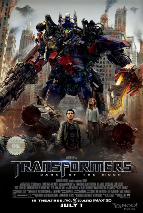 "Transformers: Dark of the Moon (2011)  The Autobots learn of a Cybertronian spacecraft hidden  on the Moon, and  race against the Decepticons to reach it and to learn  its secrets. Michael Bay does it again! Mindless action with  ""some"" story… We follow and unemployed  Sam Witwicky?!? Hard to  believe sine HE DID saved the world. Totally a popcorn flick for  pre-teens and kids. Shitty story, great action. You get exactly what is advertised, big robots battling for control of the Earth. And then… Shia LaBeouf returns with a new ""love"" the gorgeous Rosie Huntington-Whiteley! Goddamn she was smokin', and that accent - wow. ""I need a fresh pair of boxers"" What i really enjoyed was the presence of comedians! John Turturro returns as the crazy agent. Add comedy sensation Ken Jeong, and you've got guaranteed laughs. BUT who truly made me smile was Alan Tudyk aka ""Steve The Pirate"", his character ""Dutch"" was the best of them all. The soldier guys come back too, eh… The Witwicky family… for fucks sake… spare me… LOVED (the new versions of) Soundwave and Lazerbeak! Shockwave was  cool too, except for the indistinguishable tentacle thing he had.  Prime… sheesh… what a square hero. So what can i say? I needed something senseless and fun. I got it.  The romance bits sucked and the story was ""convenient"". As i sad Michael Bay does it again."