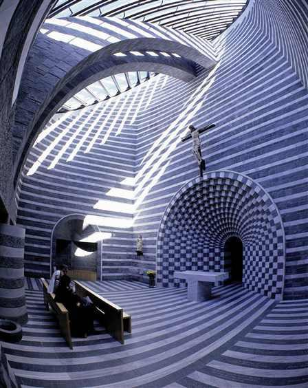 Church of San Giovanni Battista in Mogno by Mario Botta Botta's work is highly geometrical and it's especially effective in this project because the patterns are constantly changing depending on the sunlight.