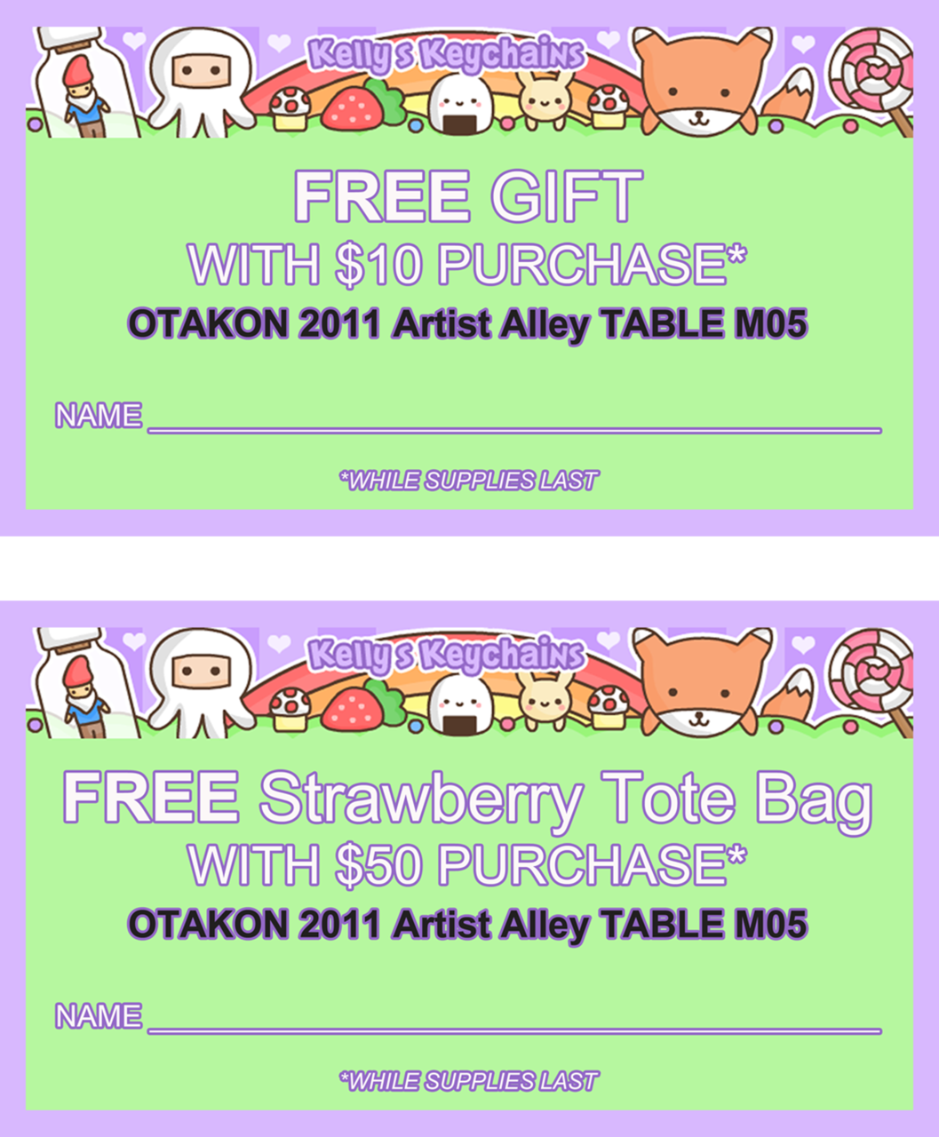 Otakon 2011 Artist Alley Coupons! Fill in your name, email or deviantART ID when cashing in at the convention.  Can be used together. My Etsy store: http://egyptianruin.etsy.com