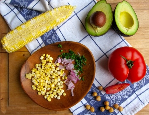 summer salad of avocado, tomato, corn