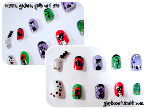 fashiontipsfromcomicstrips:  Manicure Monday: custom Gotham City Sirens nail set, by Jihye Lee. Just when I thought that Jihye Lee's nail art couldn't get any cuter than her Harley Quinn x Poison Ivy set, she whipped up this custom order featuring all three Gotham City Sirens. This nail set features miniature portraits of each Batman femme fatale, as well as their respective pets (note: I think that I can safely say that this is probably the only manicure in existence that contains both a hyena and/or a Venus Flytrap). Check out that teeny, tiny Batarang dangling off the pinky nail! :D   More geeky awesomeness - what I wouldn't give to have these nails!