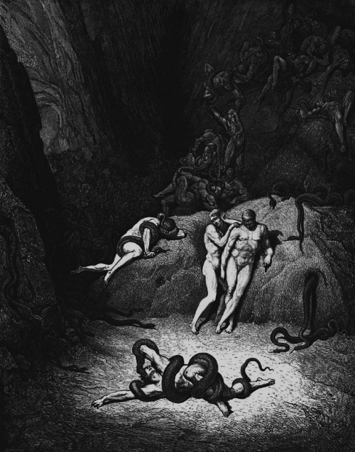 chaosophia:  Transformation into Snakes by Gustave Doré.  Engraving for Dante's Inferno published between 1861-1868.
