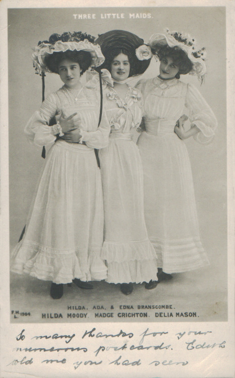thewidowflannigan:  Co-stars in Paul Rubens' musical Three Little Maids. Date says 1904 — in the original 1902 production Delia Mason's part was played by Edna May. The play is about three country sisters who come to London to earn a living serving tea in a Bond Street shop, where they become the rivals of three fashionable city girls—but win out due to their wits. You go, gurrrrl. summertime75:  Three Little Maids