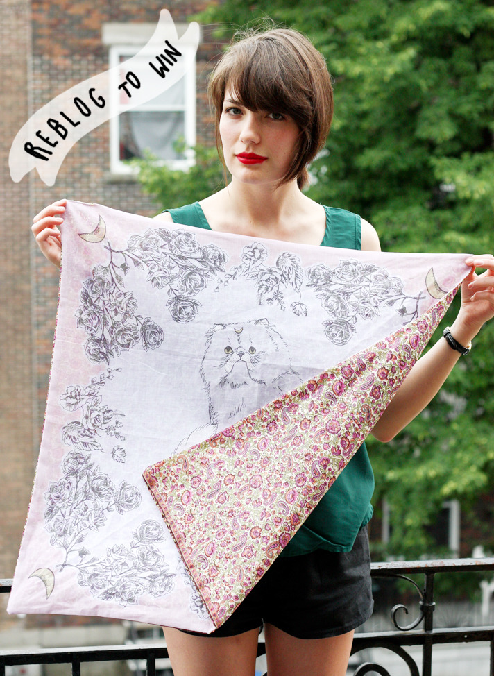 thecaribou:  youngcaptive:  REBLOG TO WIN - I'll be giving away a Luna Scarf to one winner who reblogs this photo/entry. You can gain an extra entry by tweeting about the giveaway (you choose what to write, just make sure to include @youngcaptive so I can log your tweet)! One winner will be chosen at random on Monday, July 18th, the last day of the pre-sale. The winner will be contacted via Tumblr or Twitter (depending on how they entered) + their scarf will be sent out with the rest of the pre-sale orders at the beginning of August. Good luck!  Hell yeah!!  Want.