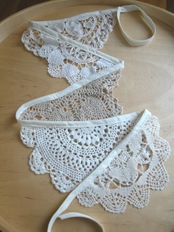 Vintage doily bunting.  Would be easy to diy.