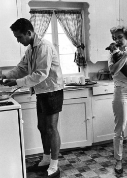 "cavigliascabinet:  Paul & Joanne at home. With puppy. Included in Sid Avery's ""Hollywood At Home"". c. 1960."