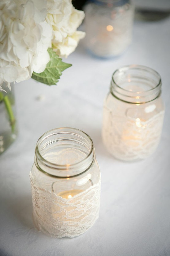Lace-wrapped ball jars —> definitely. [via Pinterest]
