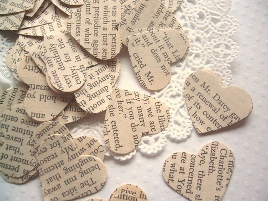 Darling confetti for guest book, dessert or DJ table. [via Pinterest]