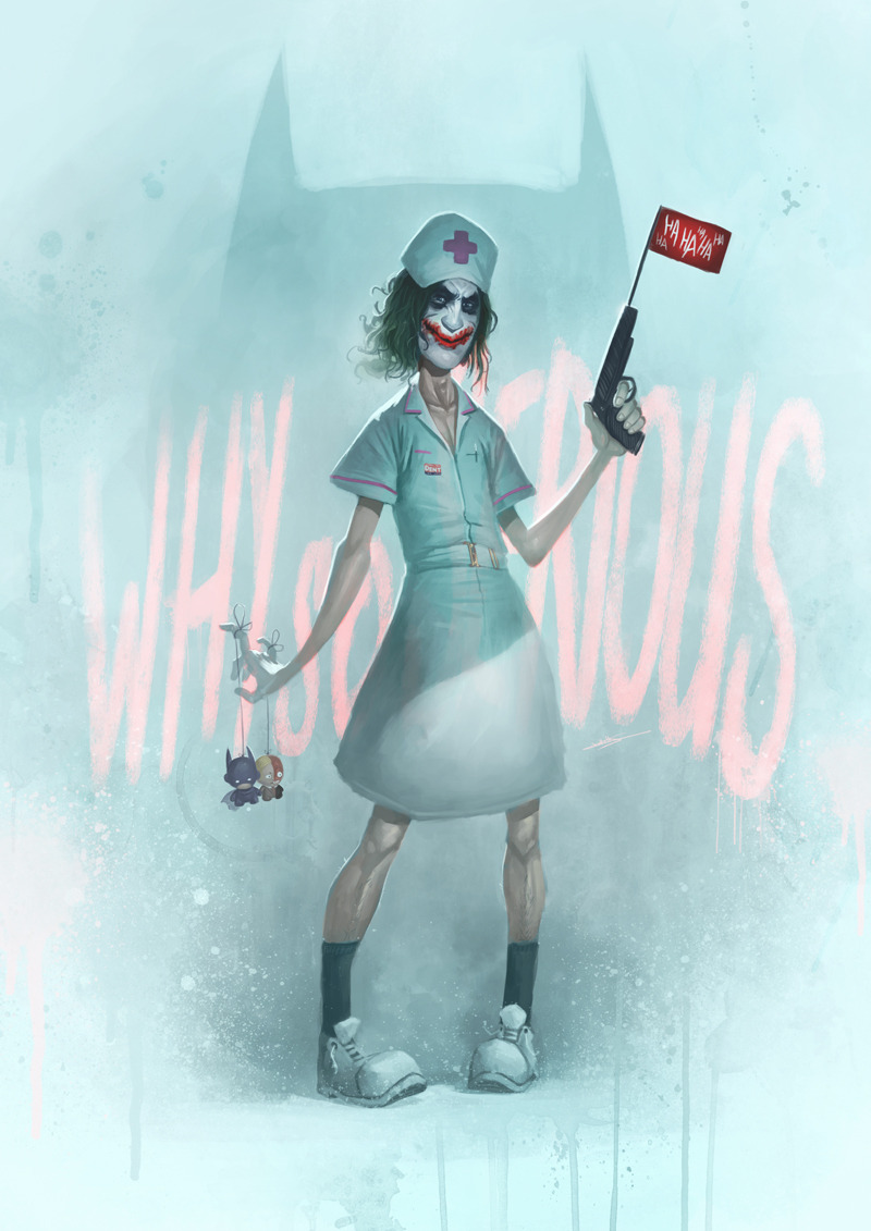 "Why So Serious? This Nurse Joker painting is by Coliandre. It was just one of many great pieces from the recent ""Blockbusterz"" art exhibit at Artoyz in Paris. [Via Geek-Art]"